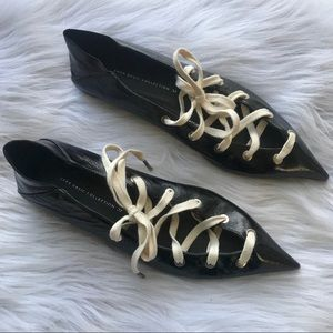 RARE Zara Patent Pointed Toe Lace Up Flats 37